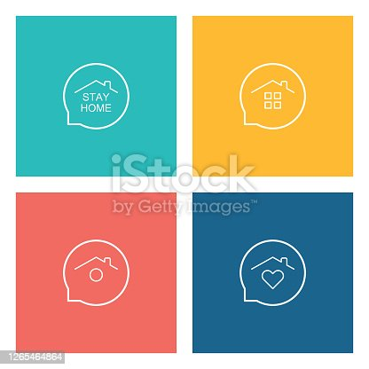 istock Stay Home Concept,home love heart icons 1265464864