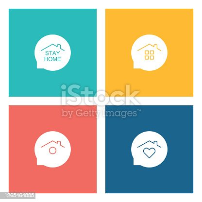 istock Stay Home Concept,home love heart icons 1265464885