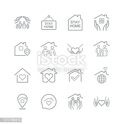 istock Stay Home Concept,home love heart icons 1272765310