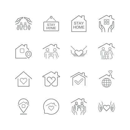 Stay Home Concept,home love heart icons