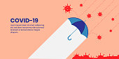 Abstract flat design that protection via umbrella from cover-19 coronavirus