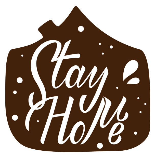 Stay home hand drawn lettering on white background. Corona virus, covid-19 concept. Safety alert banner. Vector vector art illustration