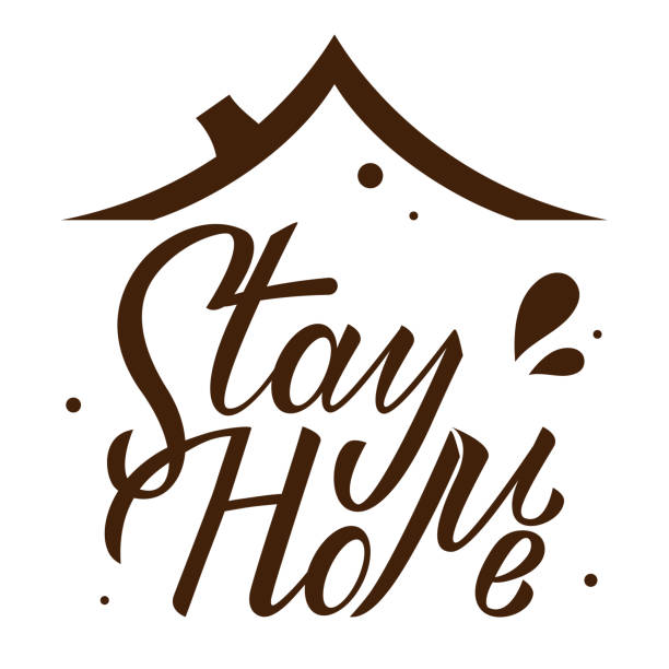 Stay home hand drawn lettering under roof on white background. Corona virus, covid-19 concept. Safety alert banner. Vector vector art illustration