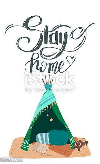 Stay home. Handwriting lettering. Selfisolation during a pandemic. Flat illustration of blanket house with text. Quarantine at home. Vector card with calligraphic quote for banners and your design.