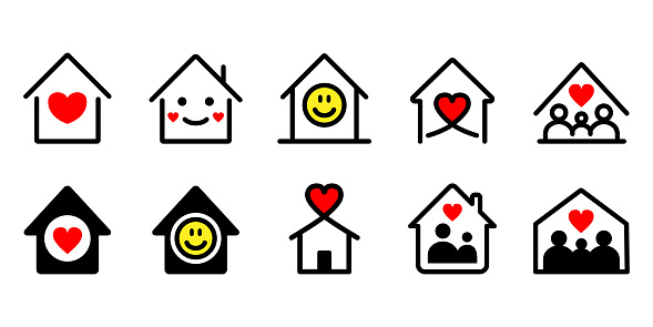 Stay home heart house cute icons set vector illustration