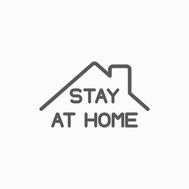 ilustraciones, imágenes clip art, dibujos animados e iconos de stock de permanecer en casa icono, la gente se queda en casa vector - stay home