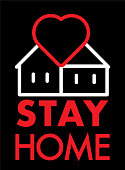 Stay home icon. House with heart stay home symbol.
