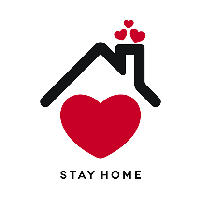 Stay Home Icon with Heart Shapes