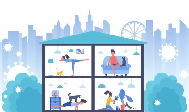 Stay home in coronavirus quarantine for virus protection vector illustration, cartoon flat people do hobby, homework or sport exercises vector art illustration