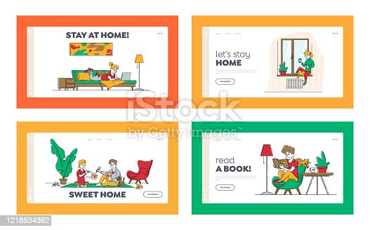 istock Stay Home Isolation Landing Page Template Set. Male and Female Characters Spend Time Doing Hobby Reading, Eating Food, Drinking Coffee Together with Cat and Soulmate. Linear People Vector Illustration 1218534362