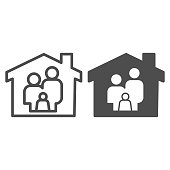 Stay home line and solid icon. Family in house outline style pictogram on white background. Staying at home during a pandemic for mobile concept and web design. Vector graphics