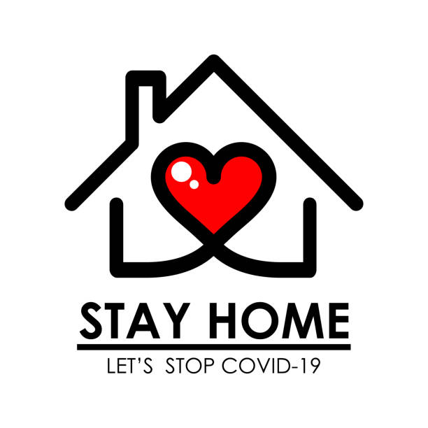 Stay home logo and line icon with house and heart inside, Stay home quote typography design is Coronavirus disease COVID-19 protection campaign logo, vector illustration vector art illustration