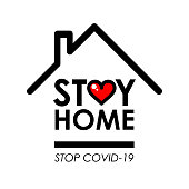 Stay home logo and line icon with house and heart inside, Stay home quote typography design is Coronavirus disease COVID-19 protection campaign logo, vector illustration eps10