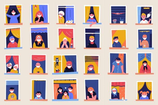 ilustraciones, imágenes clip art, dibujos animados e iconos de stock de quédate en casa con estandarte motivacional. personas en ventanas que se quedan en casa debido a la cuarentena, trabajar, estudiar, tocar la guitarra, leer. - stay home