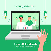 Stay Home online video call with family use laptop for Eid Mubarak Islamic festival celebration during covid 19 pandemic vector flat illustration
