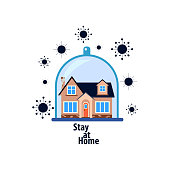 stay home, pandemic virus, house under a glass cover and around viruses, vector illustration on a white background