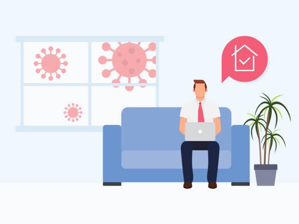 ilustraciones, imágenes clip art, dibujos animados e iconos de stock de quédate en casa protégete. hombres trabajando en casa. coronavirus afuera. concepto de cuarentena de coronavirus. - stay home