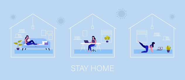 Stay home. Quarantine Coronavirus. Young woman reading book, working from home and doing yoga. Vector