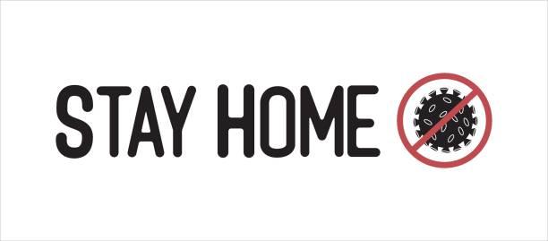 ilustraciones, imágenes clip art, dibujos animados e iconos de stock de hospédese en la cita de la casa con el icono del coronavirus y la señal de alto - stay home