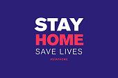 stay home save lives hashtag quarantine, coronavirus epidemic vector illustration