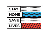 Stay Home Save Lives. Inspiring Creative Motivation Quote Template. Vector Typography - Illustration