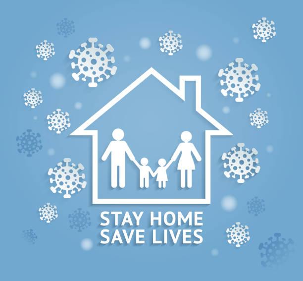 Bleiben Sie zu Hause retten Leben Papier geschnitten Stil Vektor-Illustrationen. – Vektorgrafik