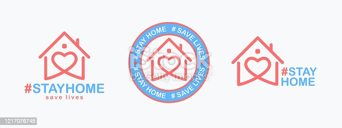 Stay Home, save lives set. Isolated hashtag phrase with heart shaped house icon on white background. Logo or emblem design for poster, web banner or social media. Quarantine coronavirus. Vector