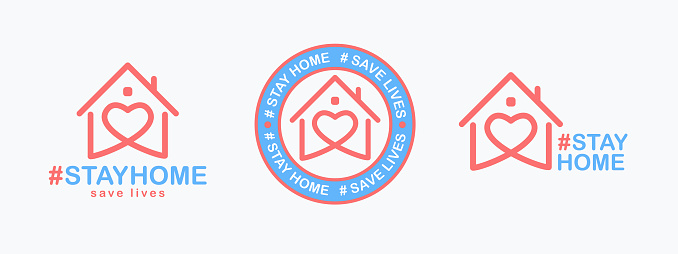 Stay Home, save lives set. Isolated hashtag phrase with heart shaped house icon on white background. Logo or emblem design for poster, web banner or social media.
