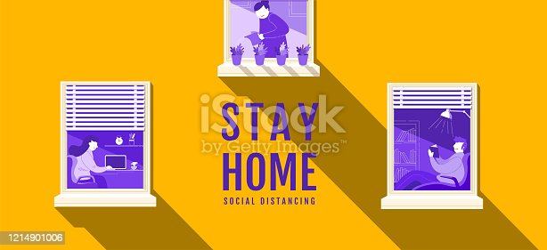 istock Stay Home, Social Distancing , Stop Covid-19 concept , People keeping distance for infection risk and disease, Coronavirus, Cartoon Character, Vector Illustration. 1214901006