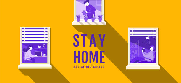 stay home, social distancing , stop covid-19 concept , people keeping distance for infection risk and disease, coronavirus, cartoon character, vector illustration. - social distancing stock illustrations