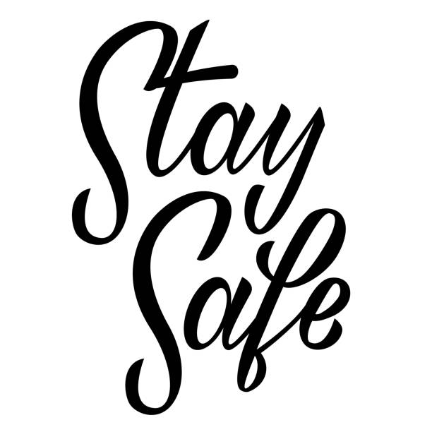 Stay home stay safe hand drawn lettering on white background. Corona virus, covid-19 concept. Safety alert banner. Vector vector art illustration