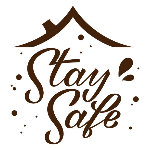 Stay home stay safe hand drawn lettering under roof on white background. Corona virus, covid-19 concept. Safety alert banner. Vector vector art illustration