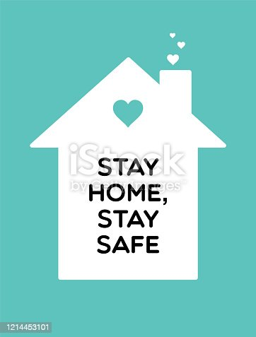 istock Stay home, stay safe vector coronavirus content. White House on a blue background 1214453101