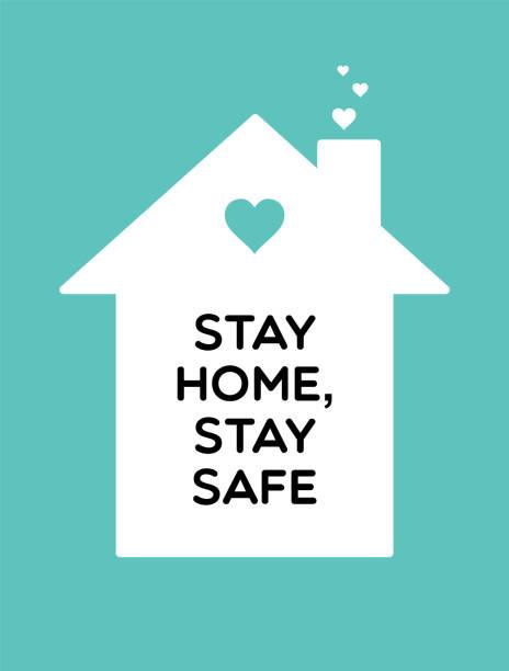 ilustraciones, imágenes clip art, dibujos animados e iconos de stock de manténgase en casa, mantenga un contenido seguro de coronavirus vectoriales. casa blanca sobre un fondo azul - stay home