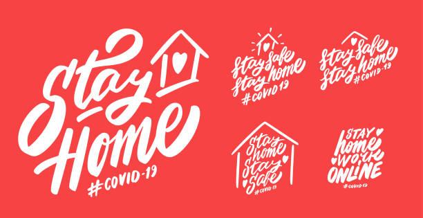 ilustraciones, imágenes clip art, dibujos animados e iconos de stock de quédate en casa. mantente a salvo. trabajar en línea. covid-19. - stay home