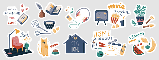 Stay Home stickers set