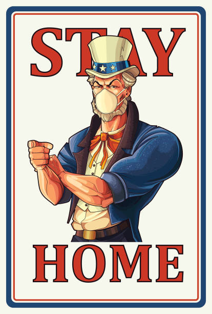 Stay home, Uncle Sam Poster Warning about viruses. eps9 uncle sam stock illustrations