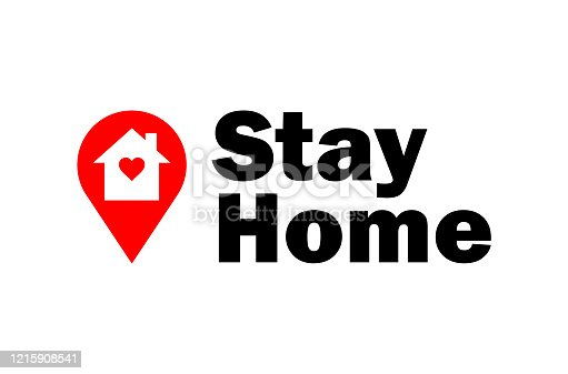 istock Stay home vector coronavirus concept on a white background. 1215908541