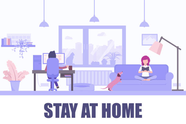 Stay home vector illustration.Young girl reading book on the couch, young man working on computer. Coronavirus outbreak. Stay at home flat vector illustration. Young girl reading book on the couch, young man working on computer. Coronavirus outbreak social media campaign, self isolation. politics and government stock illustrations