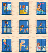 Vector Stay home. Windows with people inside their houses