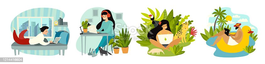 istock Stay home. Working at home. Freelancer people with laptop working vector illustration set 1214416604