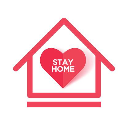 Stay Home. Wuhan Virus Disease vector icon. China Novel Coronavirus Disease concept design stock illustration. Covid-19 Vector Template. Red paper cut heart for Covid-19 Prevention stock illustration. Origami heart vector