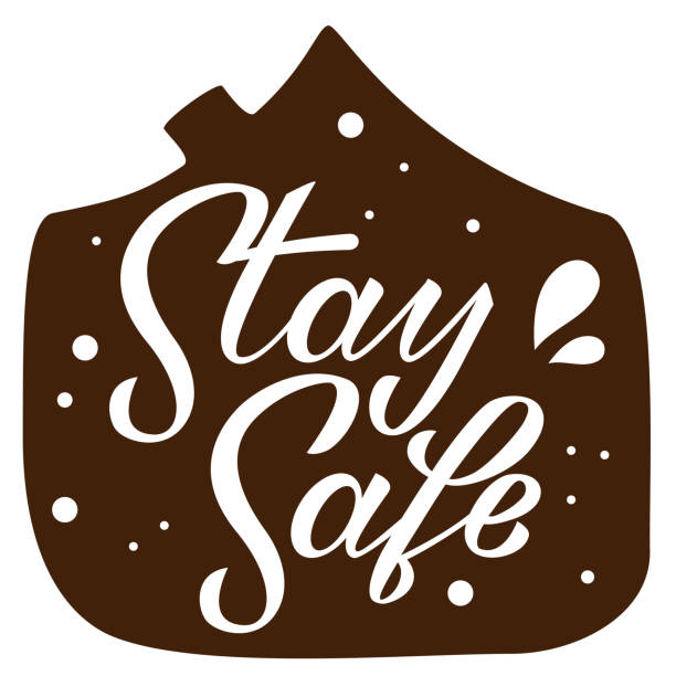 Stay safe hand drawn lettering on white background. Corona virus, covid-19 concept. Safety alert banner. Vector vector art illustration