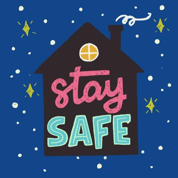 stockillustraties, clipart, cartoons en iconen met blijf veilige hand belettering inschrijving in huis silhouet - avondklok