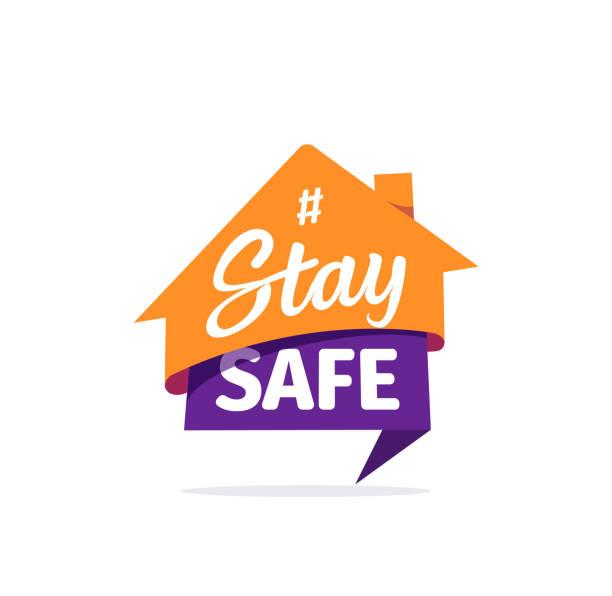 stay safe vector sticker. self isolation flat icon. quarantine logo on white background - home icon stock illustrations