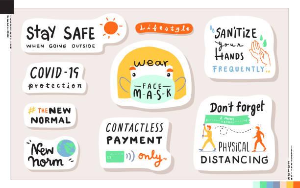 illustrazioni stock, clip art, cartoni animati e icone di tendenza di stay safe when going outside_sticker set - new normal