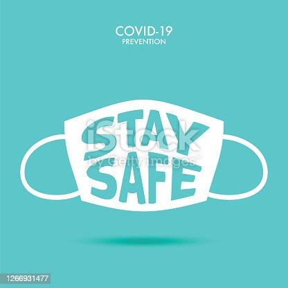 istock Stay Safe. Wuhan Virus Disease vector icon with face mask. China Novel Coronavirus Disease concept design stock illustration. Covid-19 Vector Template 1266931477