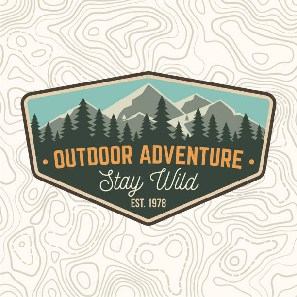 Stay wild, outdoor adventure patch. Vector. Concept for shirt or print, stamp or tee. Vintage typography design with mountains and forest silhouette. Outdoor adventure badge. Stay wild, outdoor adventure patch. Vector illustration. Concept for shirt or print, stamp or tee. Vintage typography design with mountains and forest silhouette. Outdoor adventure badge. mountains stock illustrations