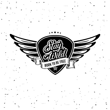 Stay Wild Plectrum Wings White Vector illustration