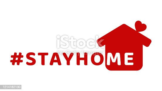 istock #stayhome - stay home hashtag with red house and mini heart. Let's stay home campaign icon for Prevention of Coronavirus or Covid-19. 1214182130